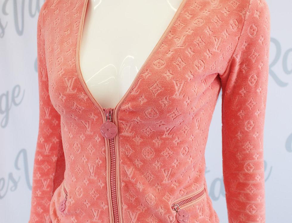 Louis Vuitton Coral Pink Velour Jacket Monogram Logo Print
