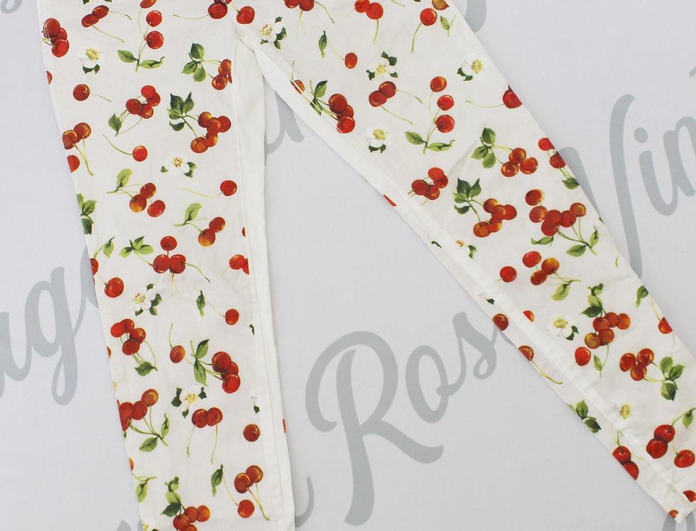 Dolce & Gabbana White Cherry Print Pants