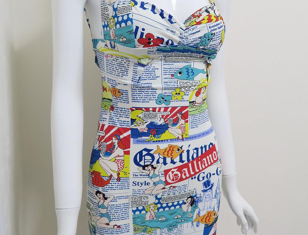 Vintage John Galliano Gazette Newspaper Print Dress Swim Theme