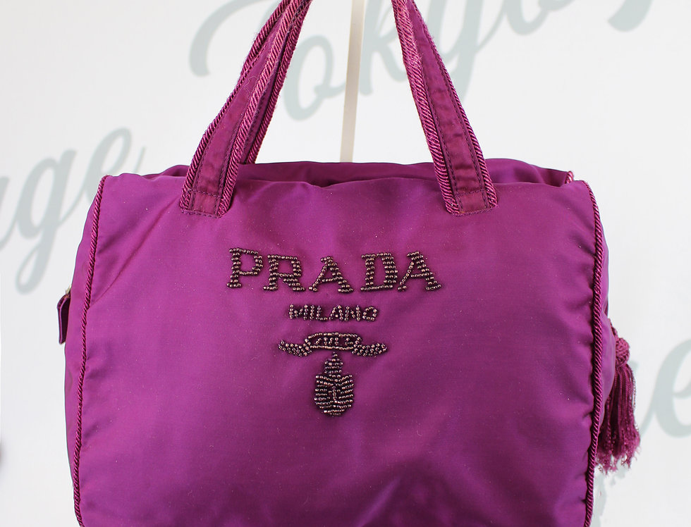 Purple Prada Nylon Beaded Mini Bag