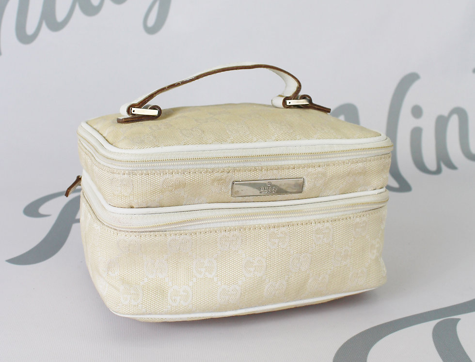 Gucci White Gucci Monogram Vanity Bag