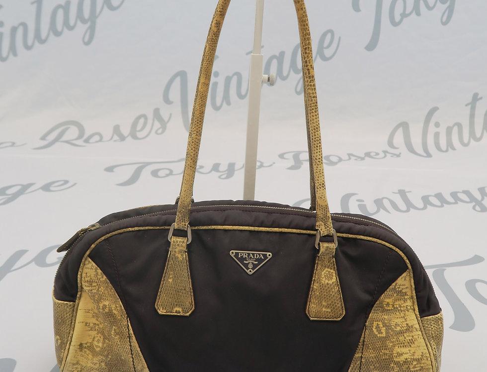 Prada Nylon Snakeskin Handbag