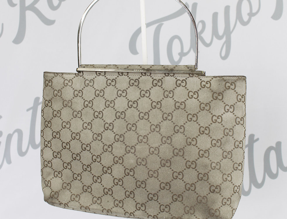 Suede Gucci Mini Bag Light Grey Monogram Handbag Rare