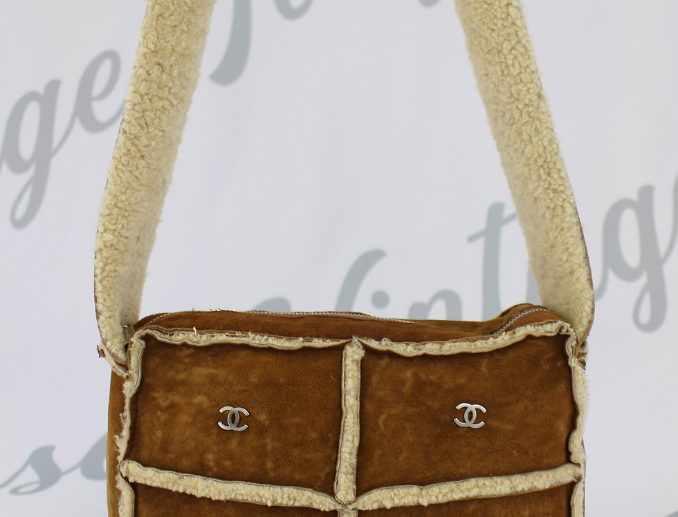 Chanel Brown Mouton Suede Bag