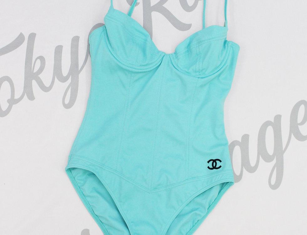 Chanel Aqua Blue Bustier Swimsuit One Piece Swim
