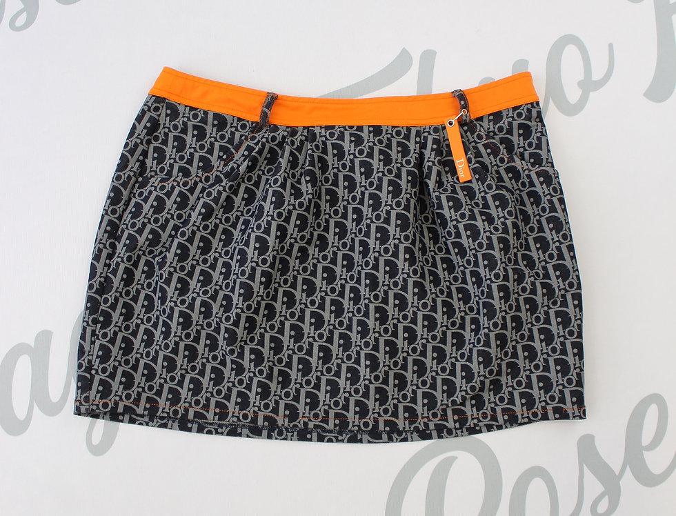 Christian Dior Blue Orange Mini Skirt Trotter Diorissimo Logo Print