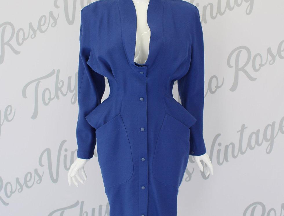 Vintage Thierry Mugler Suit Dress Blue