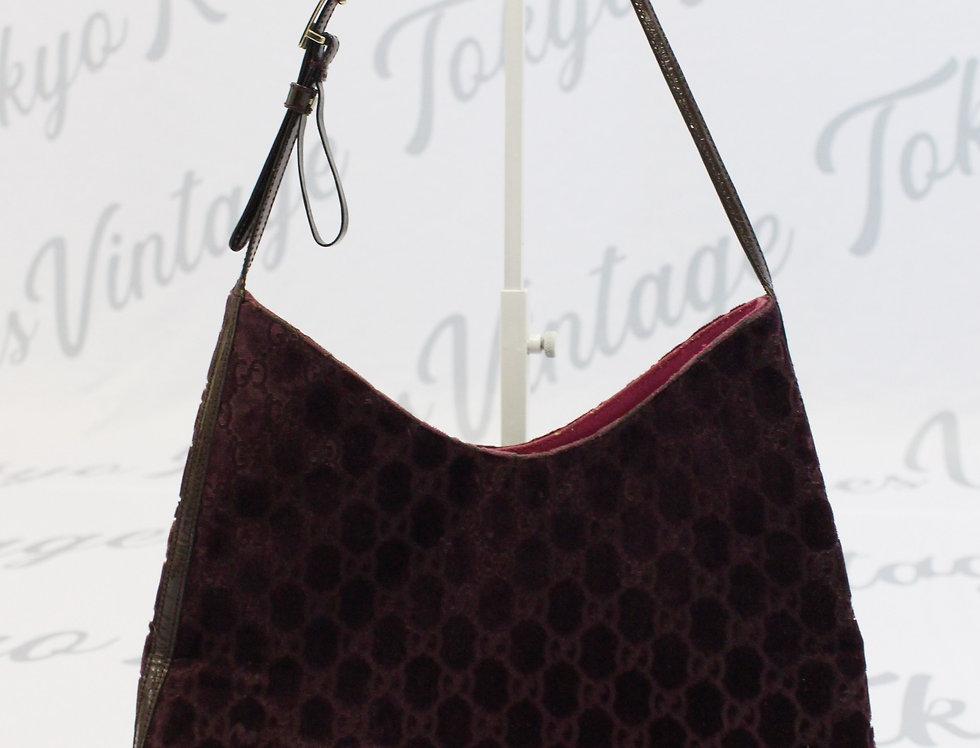 Gucci Wine Velvet Logo Monogram Bag