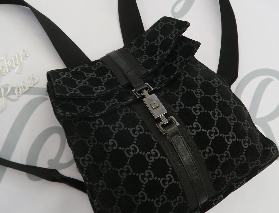 Vintage Gucci GG Monogram Suede Leather Backpack Black