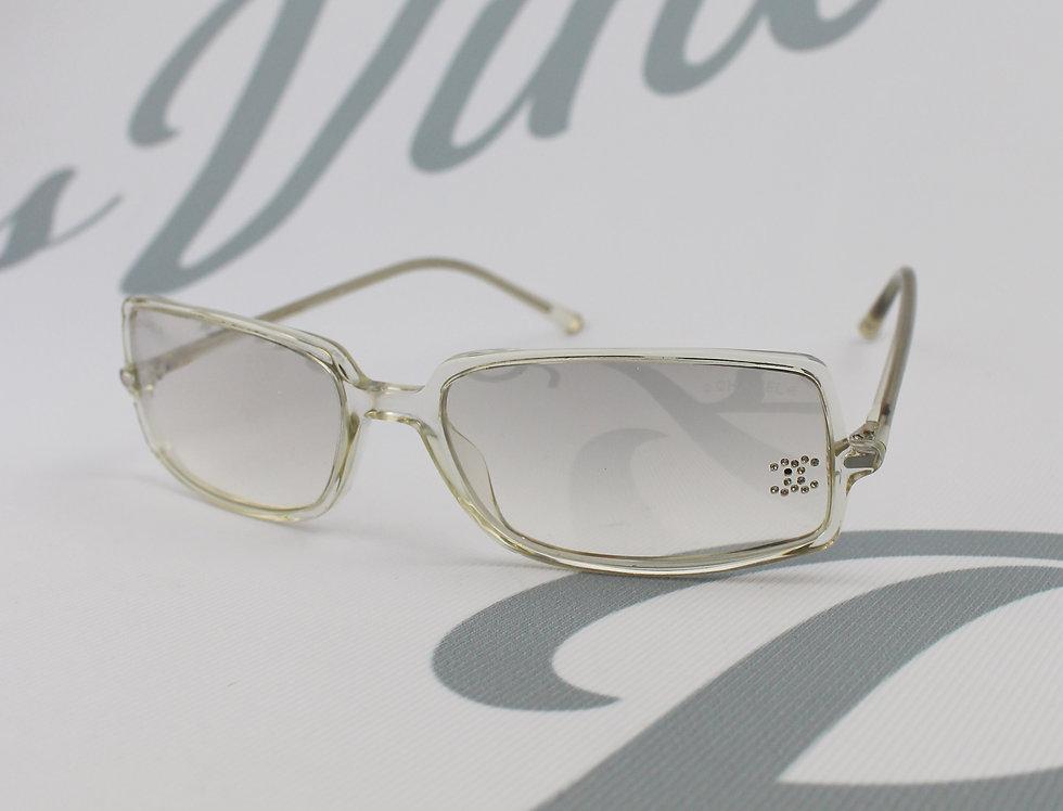 Chanel Clear Rhinestone Logo Sunglasses