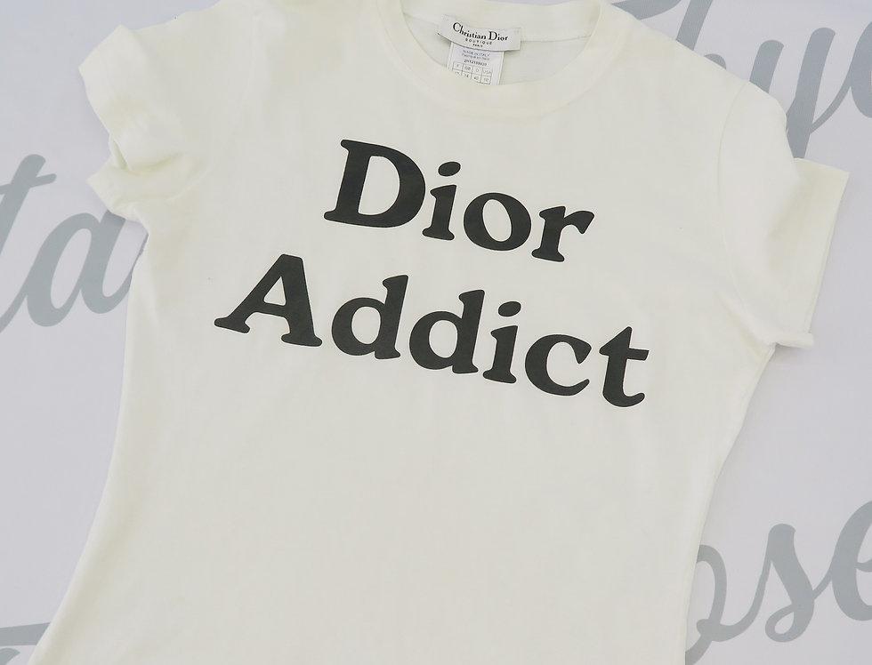 "Vintage Christian Dior "" Dior Addict "" T shirt Black & White"