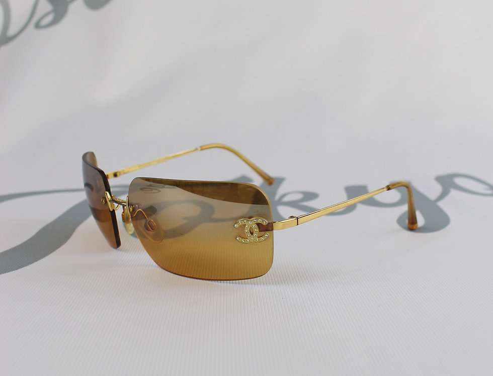 Chanel Brown Tinted Sunglasses Rhinestone Glasses