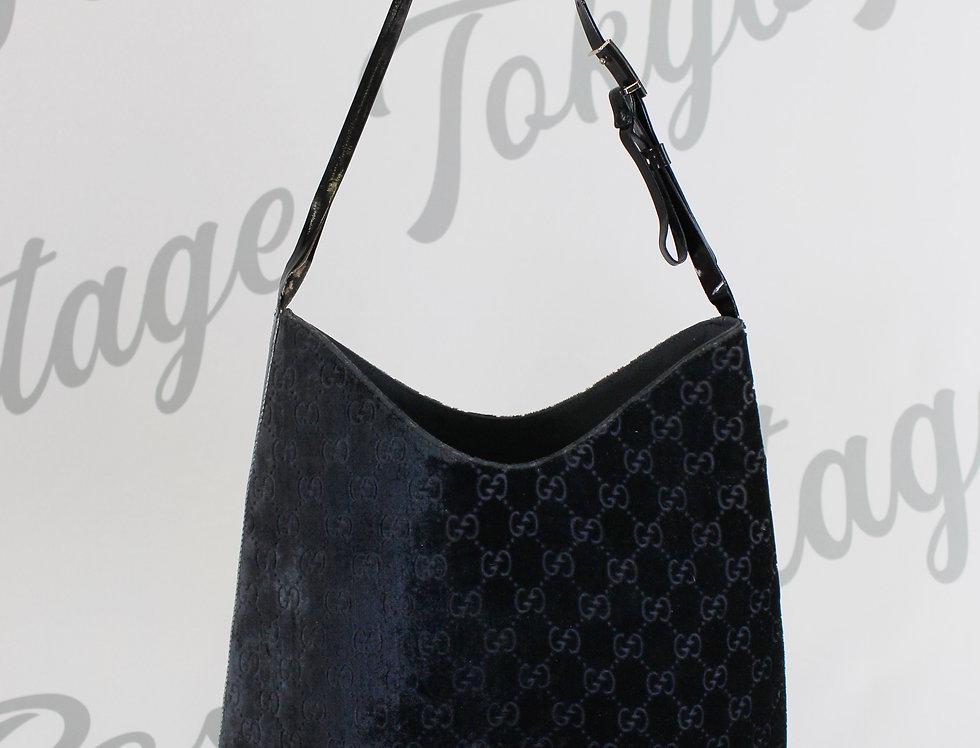 Gucci Black Velvet Logo Monogram Bag