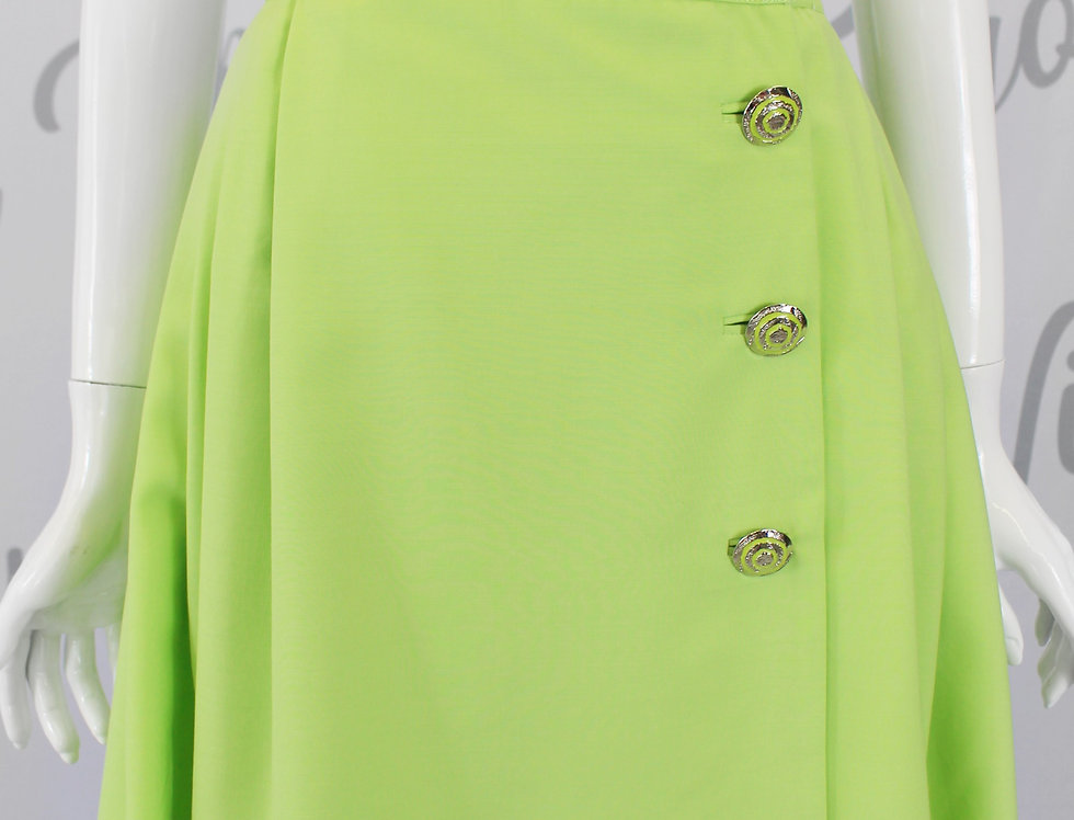 Vintage Gianni Versace Bright Green Pleated Skirt Medusa Buttons