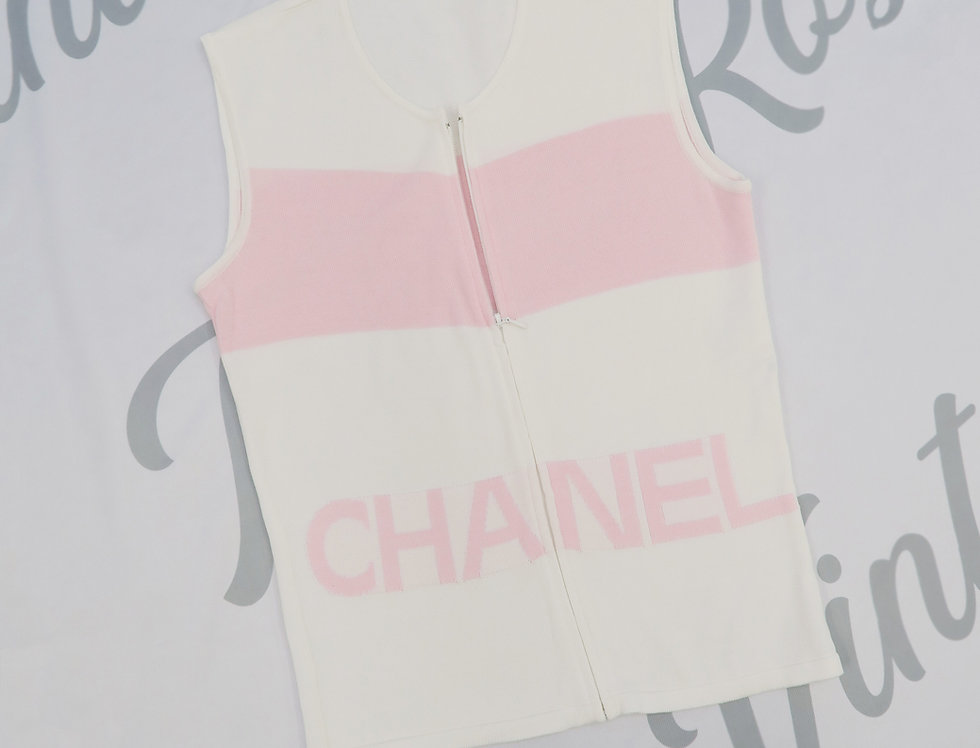 Chanel Pink & White Logo Knit Sleeveless Top Zip Detail 38
