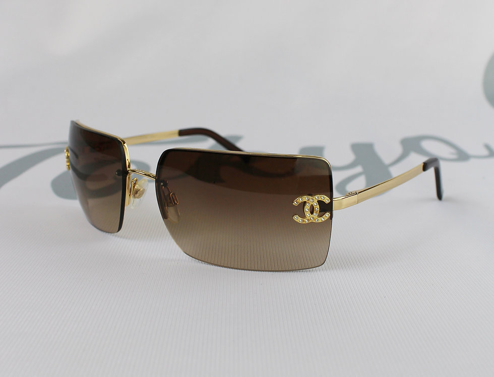 Vintage Chanel Brown Tinted Sunglasses Rhinestone Glasses Gold