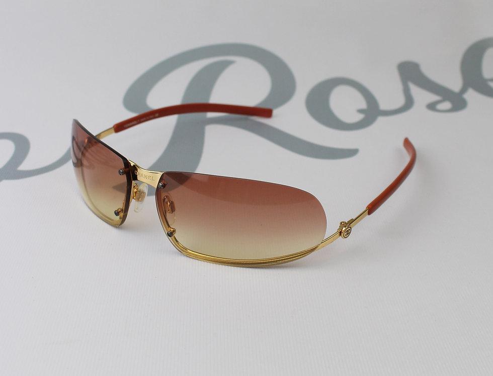 Pink Chanel Sunglasses Gradient Tint Gold Tone Rare