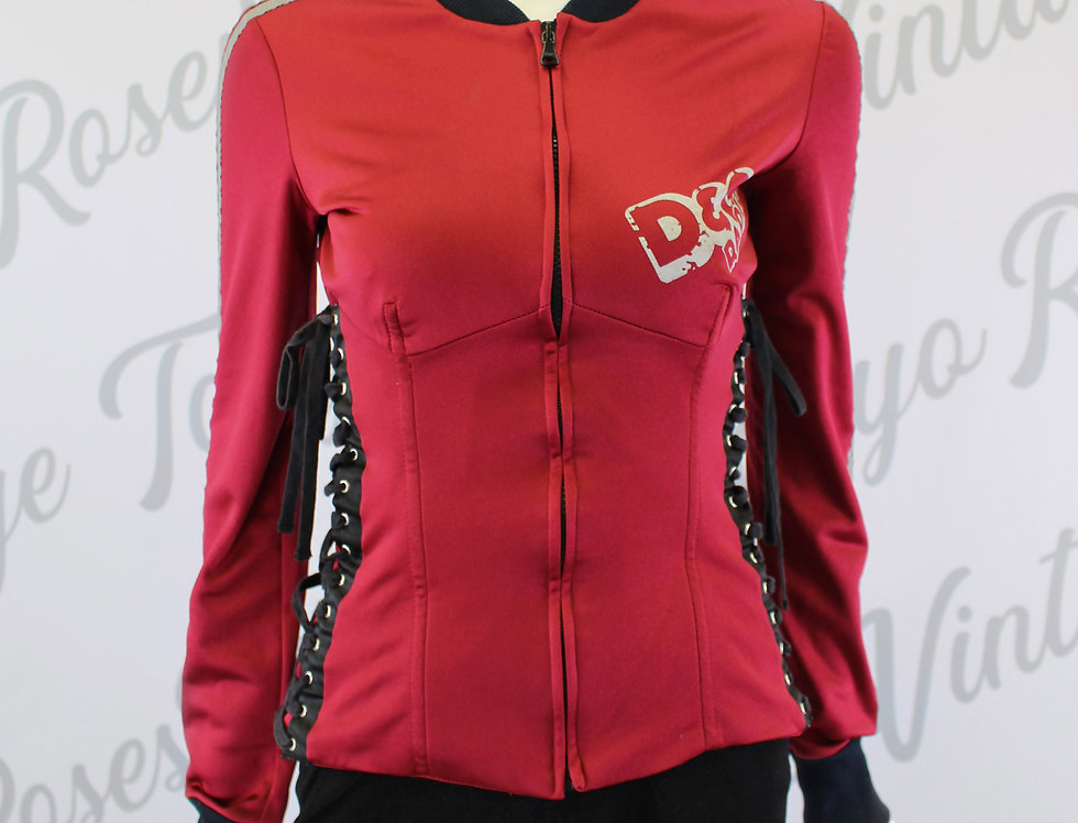 Dolce & Gabbana Red Corset Lace Up Jacket
