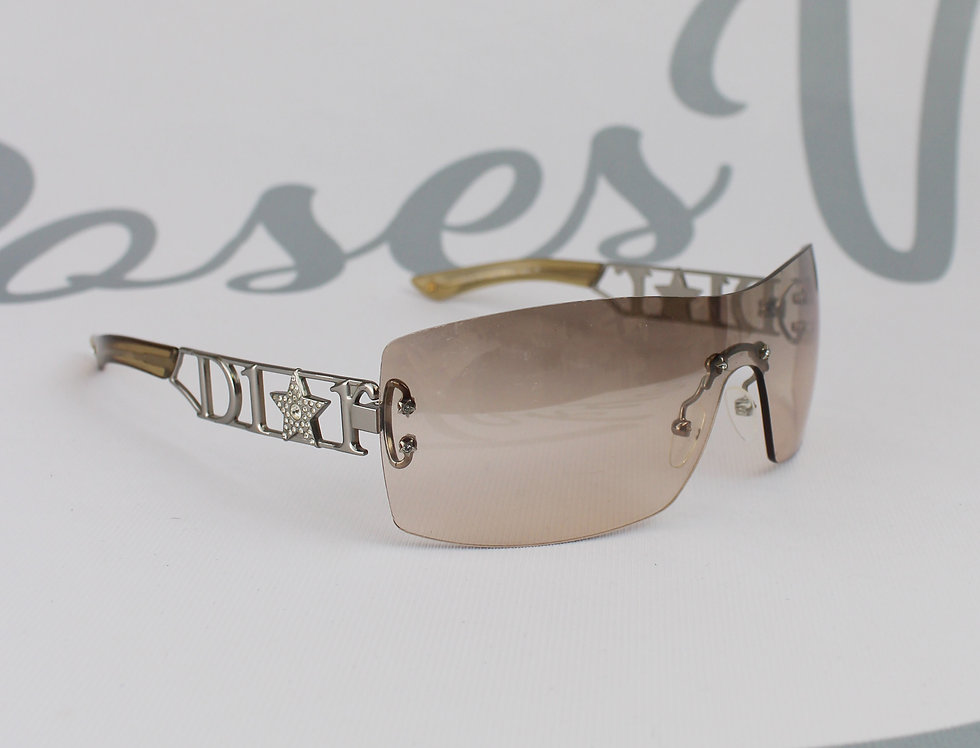 Christian Dior Side Logo Rhinestone Star Sunglasses