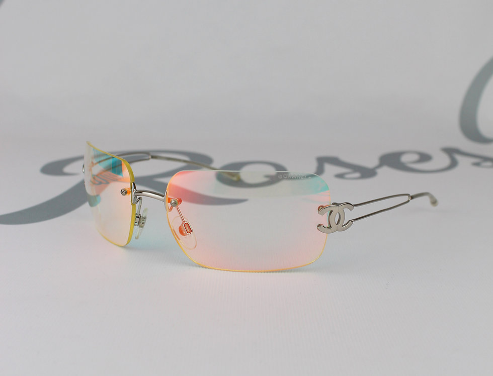 Chanel Rainbow CC Side Tinted Clear Sunglasses 2000s Glasses