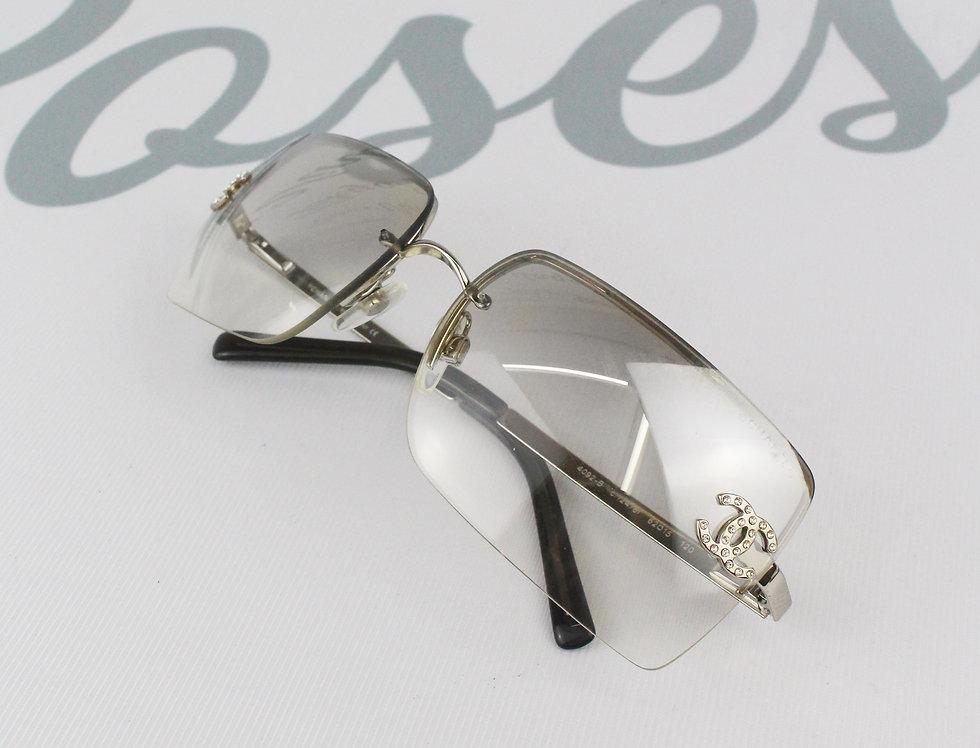 Vintage Chanel Clear Grey Silver Frame Sunglasses Rhinestone Glasses