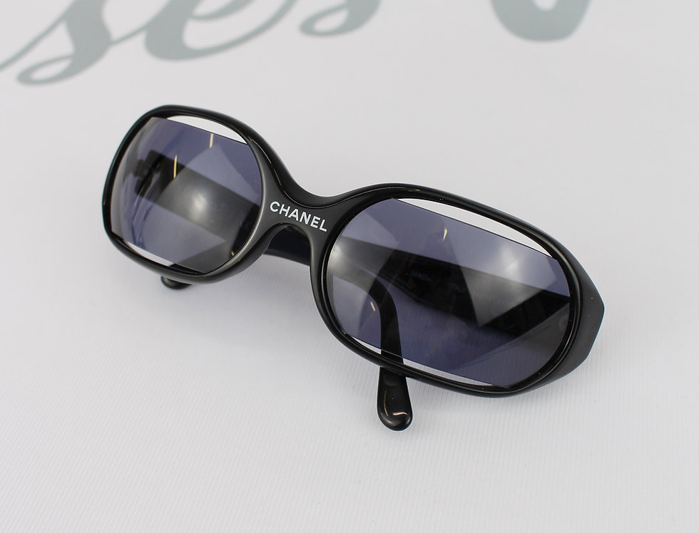 Black Chanel Cut out Lens Sunglasses