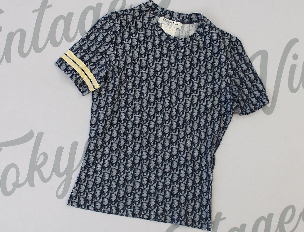Christian Dior Blue Trotter Logo Monogram Print Top