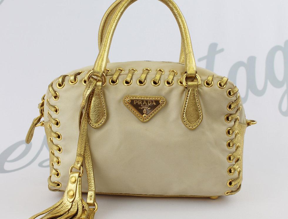 Prada Nylon & Leather Mini Tie Bag Ivory & Gold 2 way