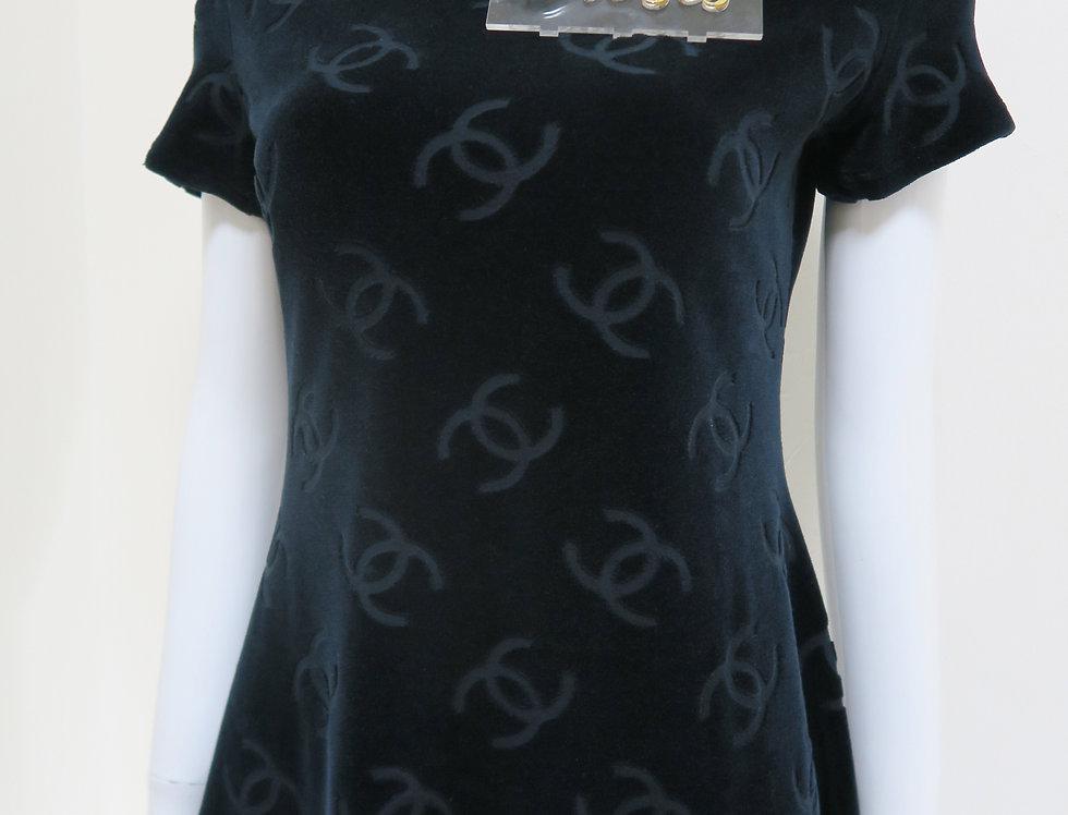 Chanel Black Velour Short Sleeve A-Line Logo Monogram Mini Dress 96