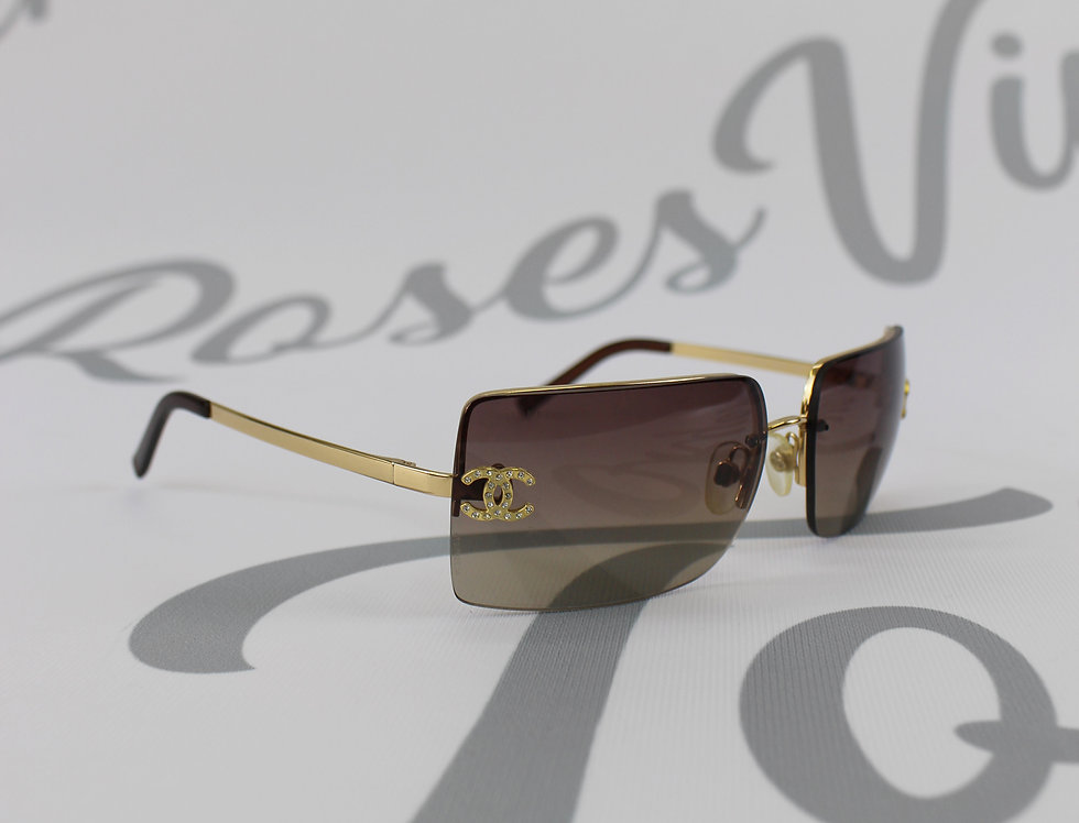 Vintage Chanel Maroon Brown Tinted Sunglasses Rhinestone Glasses Gold