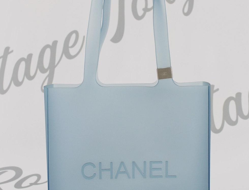 Chanel Light Blue Rubber Tote Bag