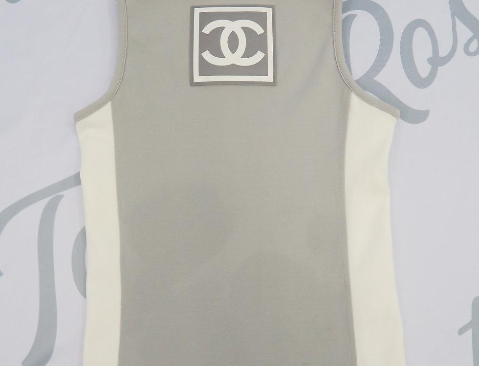 Chanel Grey & White CC Logo Back Sleeveless Top