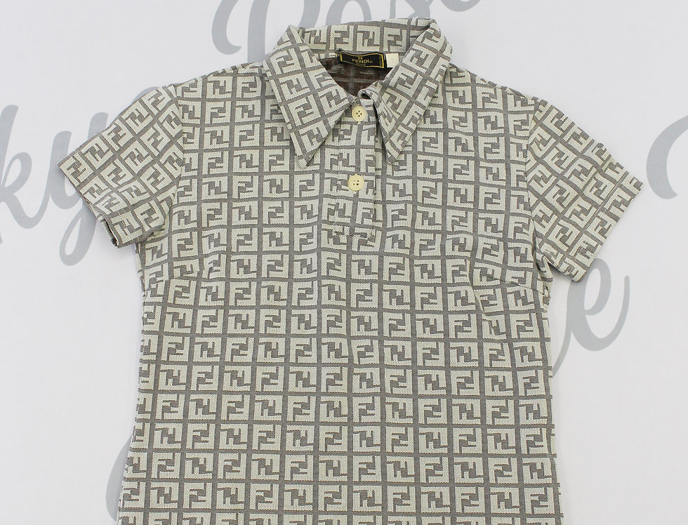 Fendi Grey FF Logo Monogram Shirt