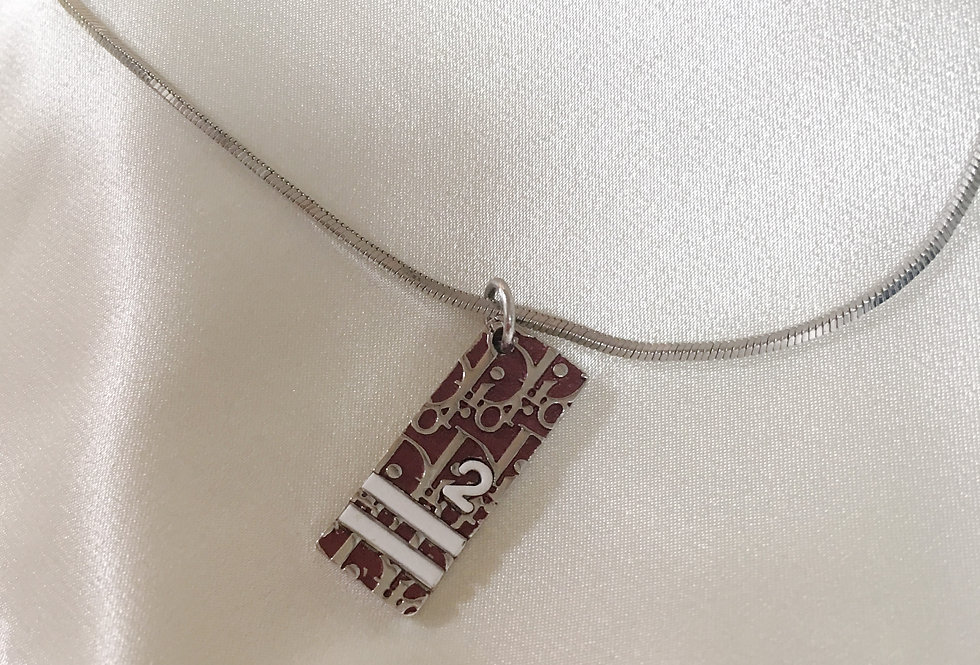 Christian Dior Trotter Logo Monogram Charm Red & Silver Necklace