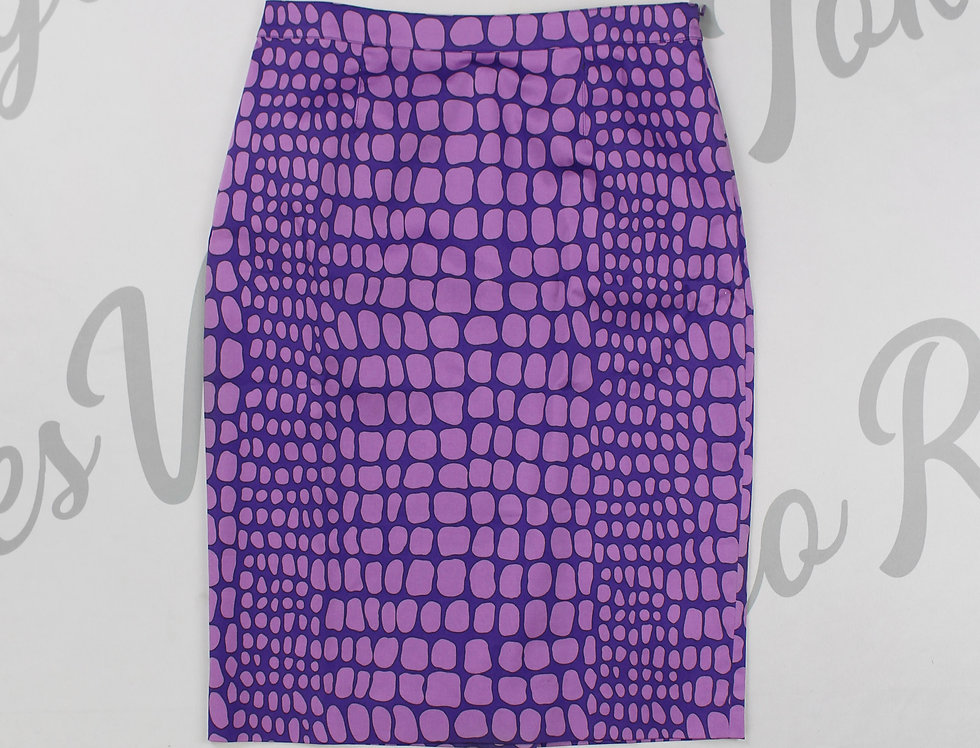 Moschino Purple Crocodile Print Pencil Skirt NWT