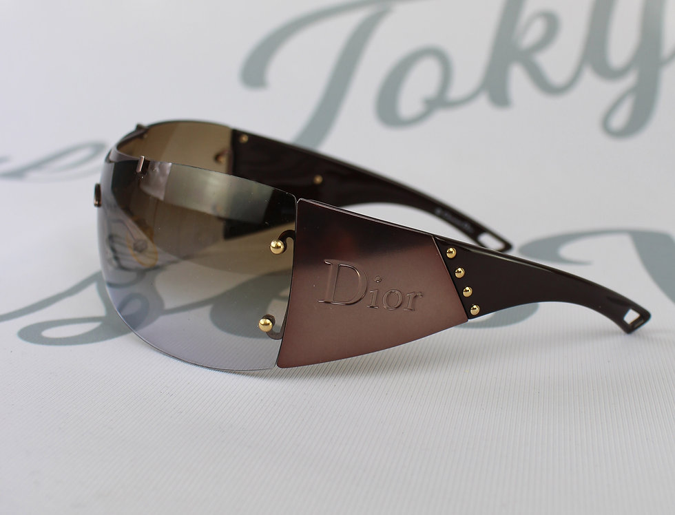 Vintage Dior Metal Look Side Logo Sunglasses Brown