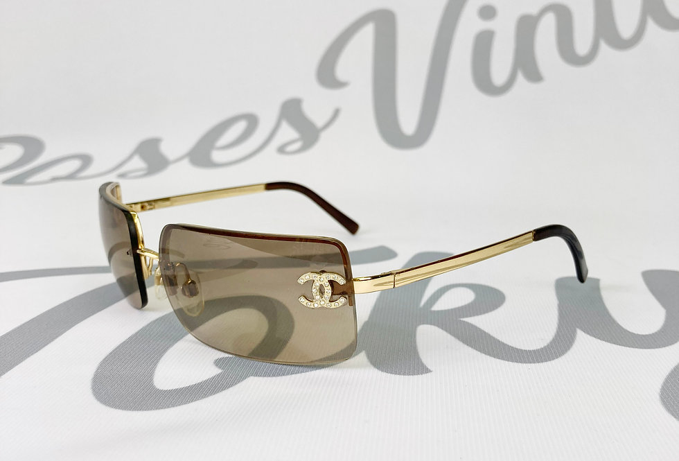 Vintage Chanel Brown Tinted Sunglasses Rhinestone Glasses Gold