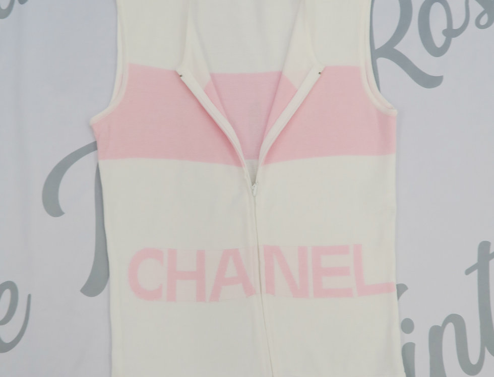 Chanel Pink & White Logo Knit Sleeveless Top Zip Detail