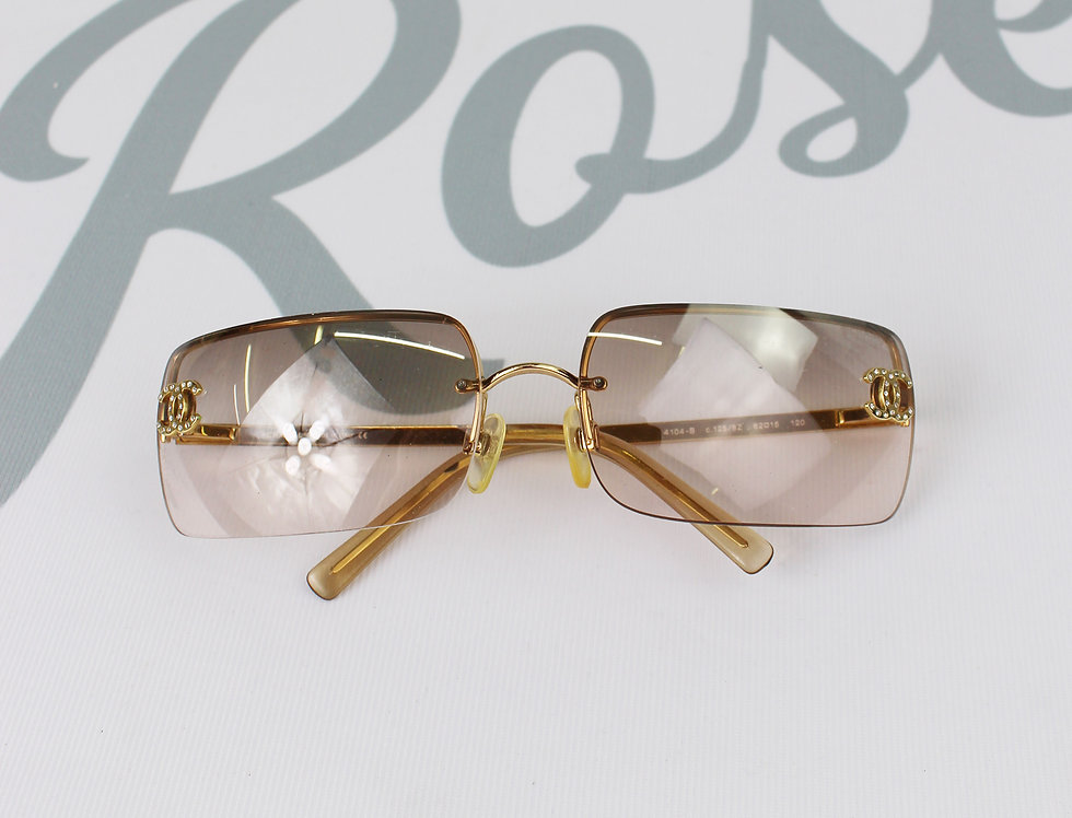 Vintage Chanel Light Brown Tinted Sunglasses Rhinestone Glasses