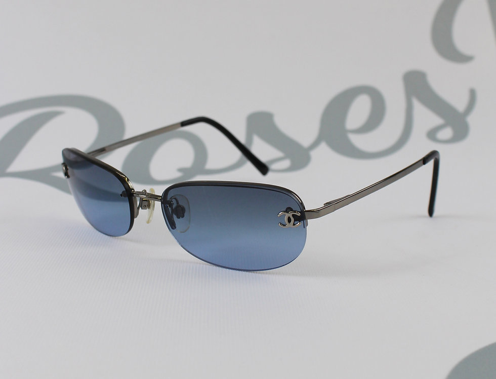 Dark Blue Chanel Sunglasses CC Logo Glasses