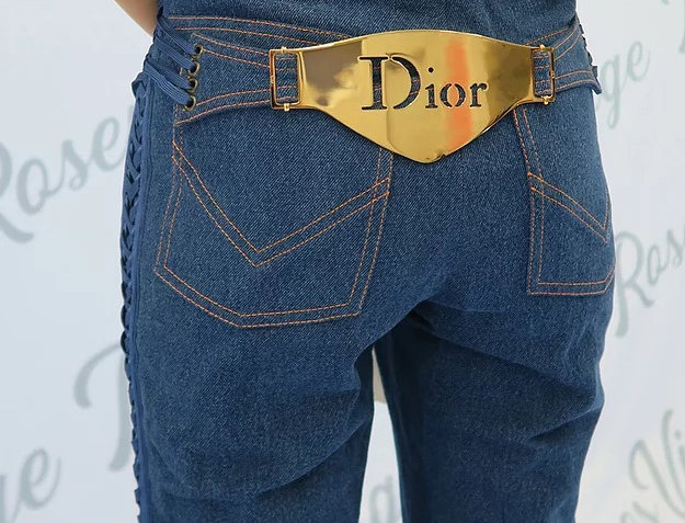 Christian Dior 2002 Metal Plate Logo Jeans Blue