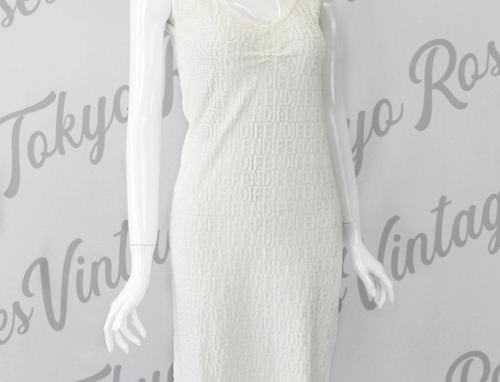 White Fendi Terry Logo Sleeveless Dress