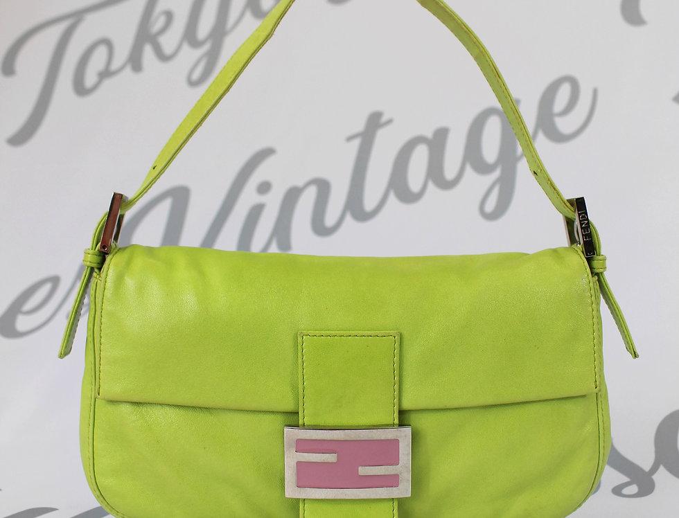 Fendi Bright Green & Pink Leather Baguette Handbag