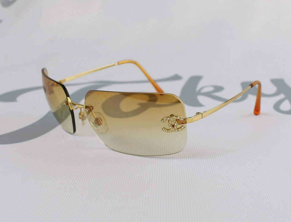 Vintage Chanel Light Orange Tinted Sunglasses Rhinestone Glasses