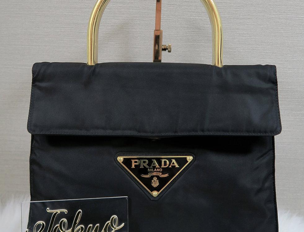 Black Prada Nylon Gold Top Handle Bag Jumbo Logo