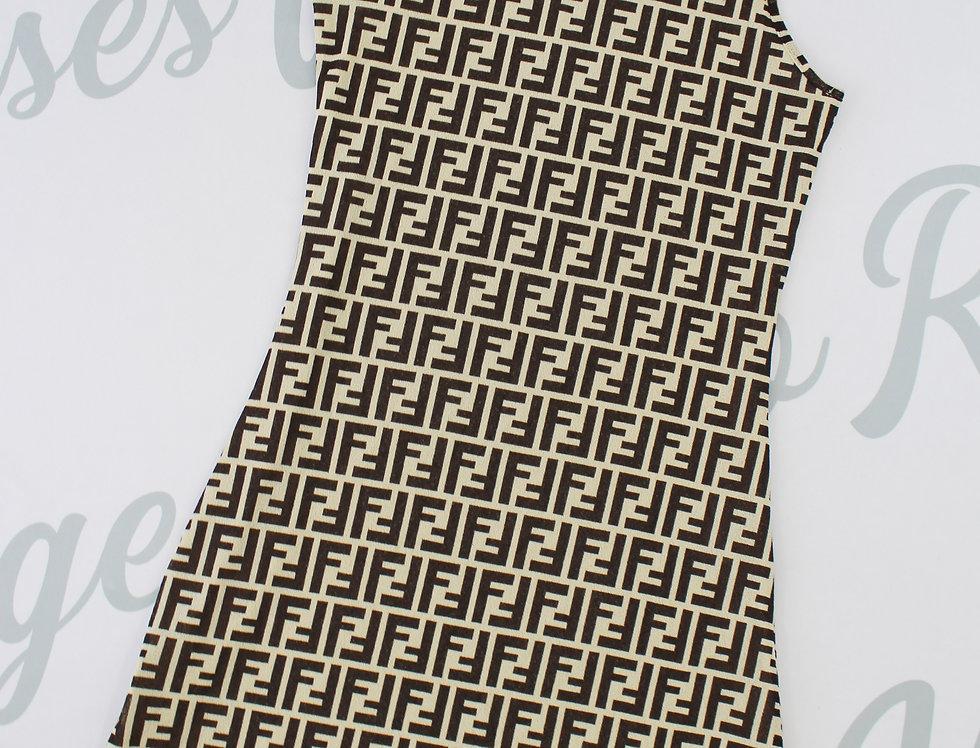 Fendi Sleeveless Black & White Logo Print Dress 90s