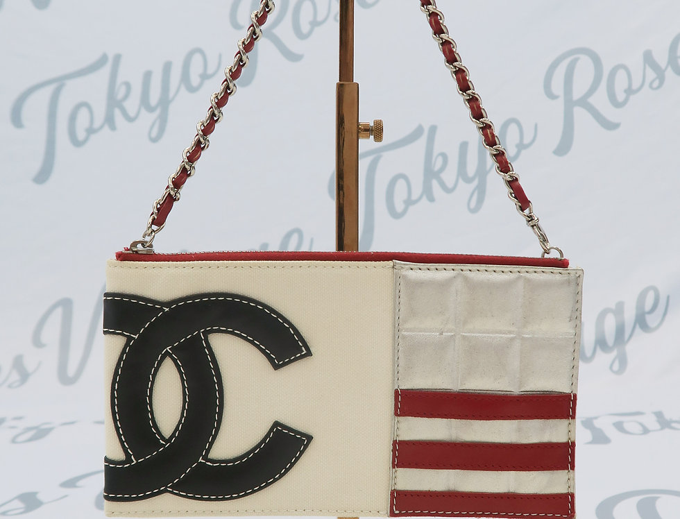 Chanel Canvas and Leather Mini Bag CC Logo Front