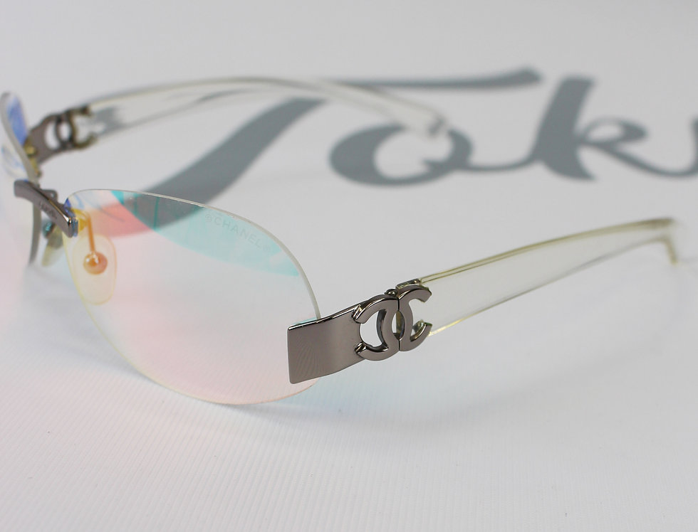 Vintage Chanel Rainbow Tinted Clear Sunglasses 2000s Glasses R