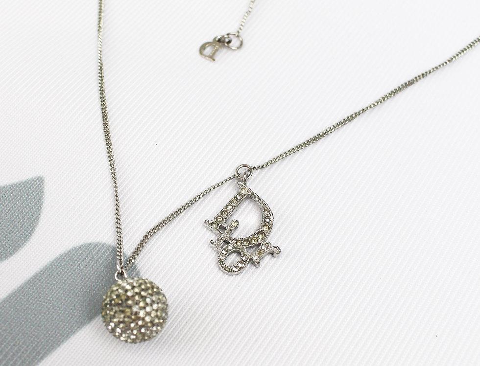 Dior Logo Necklace Crystal Silver Tone Orb