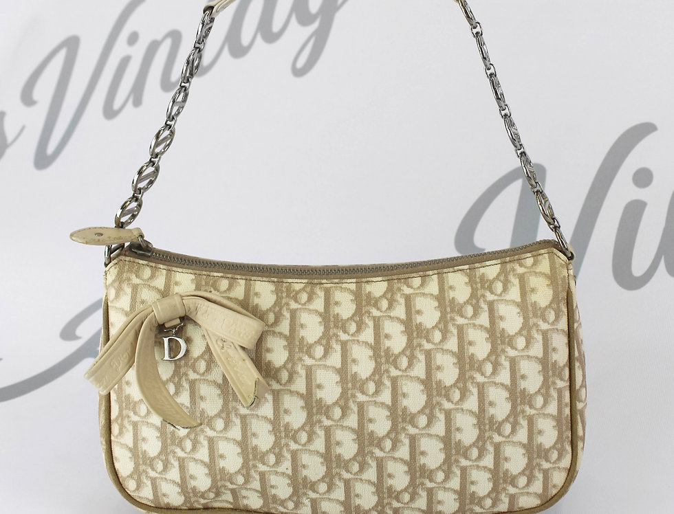 Christian Dior Brown Trotter Monogram Print Mini Bag Handbag Bow